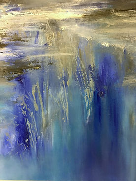 city reflection on water, cityscape painting, abstract cityscape painting, abstract cityscape oil painting, abstract blue oil painting, water painting,