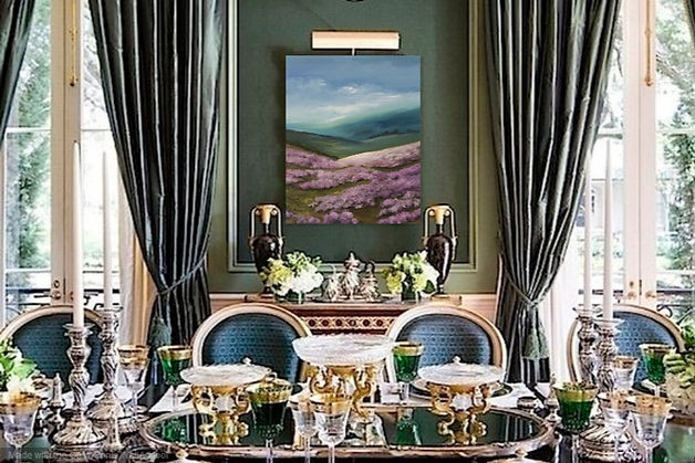 Spring arrive in Moors original oil on canvas landscape moors yorkshire dales lake district peack district cumbria beautiful heather colours pink blue posh interior modern design dinning room
