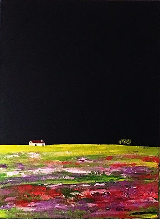 Alentejo, Sul, monte alentejano pintura em oleo sobre canvas, alentejo florido, arte contemporanea, compre arte online, artista portuguesa em Londres pinta Alentejo moderno inovador, nova tecnica de pintura, Nela Alao pintora internacional portuguesa, South in Spring, flowers, colourfull hills, little cottage in countryside, moors with flowers, buy art online, art from artist