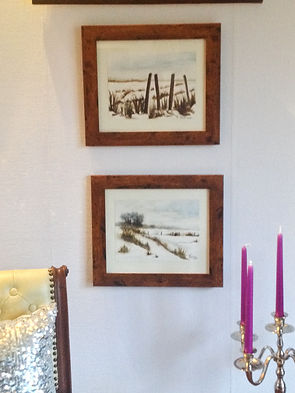 set of2 paintings with frame, original watercolour, ready to hang, beautiful snow landscape, contryside, winter, snow, white