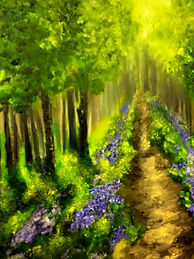 fantastic painting of trees and flowers, trees painting, bluebells painting, fine art painting landscape, best british fine art painting,