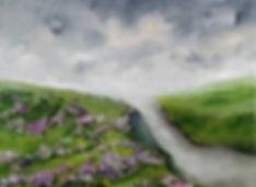 Heather, english landscape, hills, cliffs, mountain, landcape, winter, sky, original art, best art, uk, europe, artist painter, contemporary, best presents, gifts