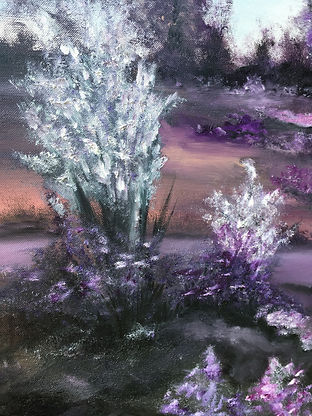 white flowers, wild flowers, field with lake, field landscape, rose colours, magenta colours, amethyst colours, landscape, modern art landscape, impressive landscape painting