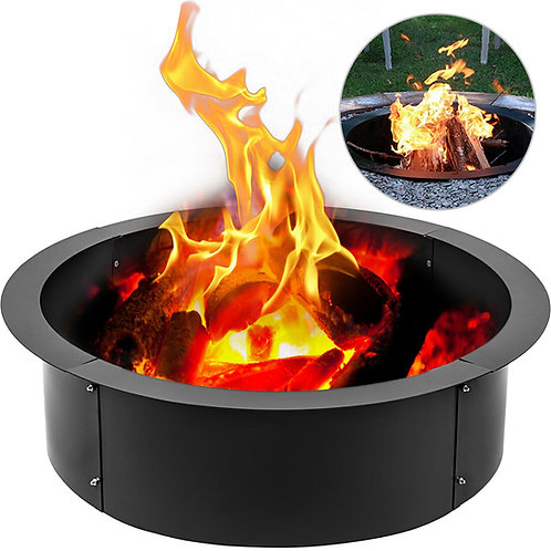 Fire Pit Rings With Grate 3.0mm Thickness Solid Steel Heavy-Duty Outdoor