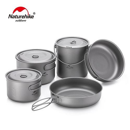 Titanium 2-3 Persons Tableware Outdoor Picnic Camping Cookware Pot Pan