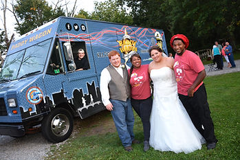food truck wedding paddy wagon cateing bride and groom