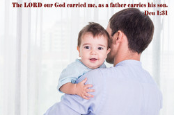 Father carries his son