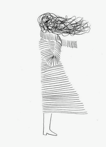 a line drawing of a person with long hair being blown in the wind