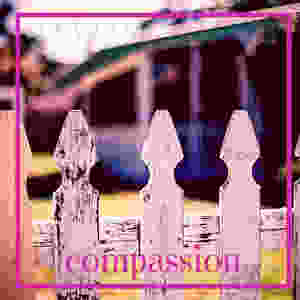 Image of the top of a white garden fence with the word compassion at the bottom in pink text