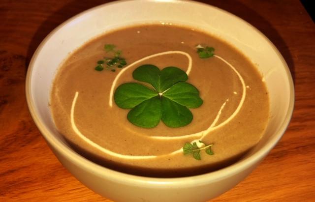 Warming foraged wild mushroom soup