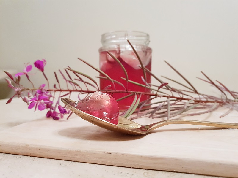 Rosebay Willowherb jelly is a gorgeous deep pink colour