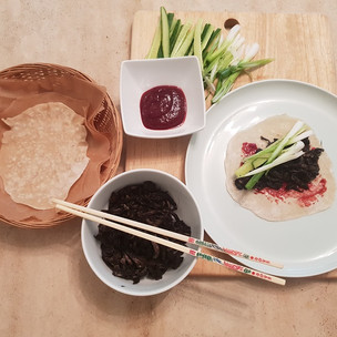Chinese-style shredded Giant Polypore pancakes with plum sauce