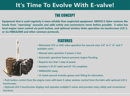 Evolve with E-Valve! Groco Marine answers your most nagging need, maintenance for your valves.