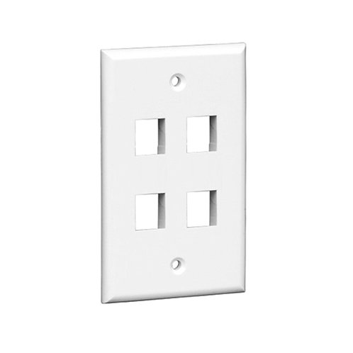 4-Port Keystone Single Gang Wall Plate