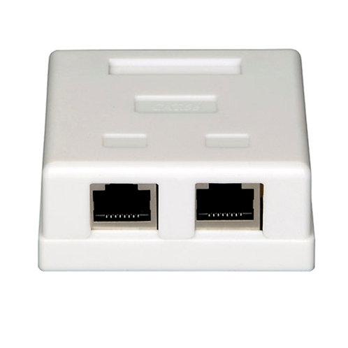 Surface Mount Box 2xRJ45 Shielded White