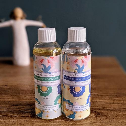 Reed Diffuser Refills. Essential Oil Blend. 100ml. Vegan