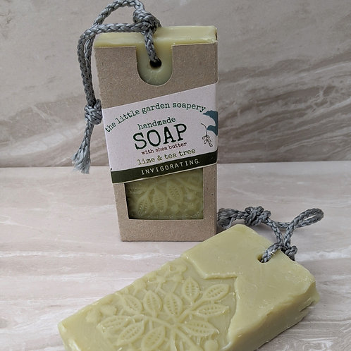 Lime & Tea Tree Handmade Soap.on a Rope. Made with Shea Butter.