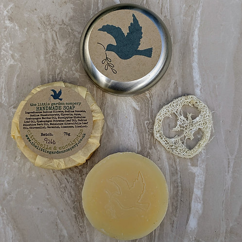 Citronella & Eucalyptus Handmade Travel Soap. Made with Shea Butter.