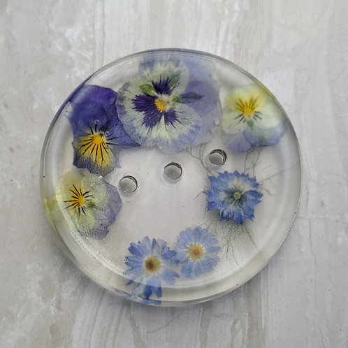 Handmade Pressed Flower Resin Soap Dish. Round Soap available