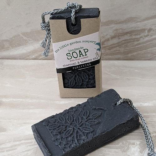 Charcoal and Tamanu Oil Handmade Soap on a Rope. Made with Shea Butter.