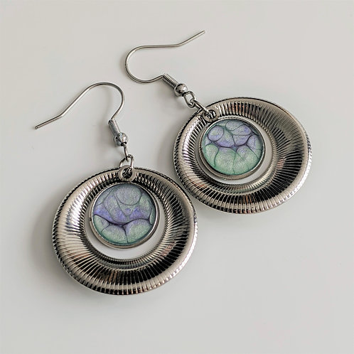 Fashion Dangle Circle Earrings. Decorated with Reactive Art Media and Resin.
