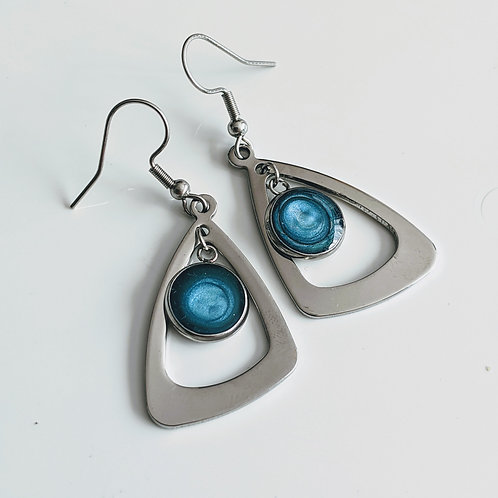 Fashion Dangle Triangle Earrings. Decorated with Reactive Art Media and Resin.
