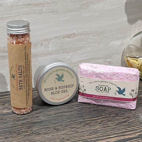 Rose & Rosehip Aloe Gel, Rose Clay Handmade Soap, Bath Salts gift set