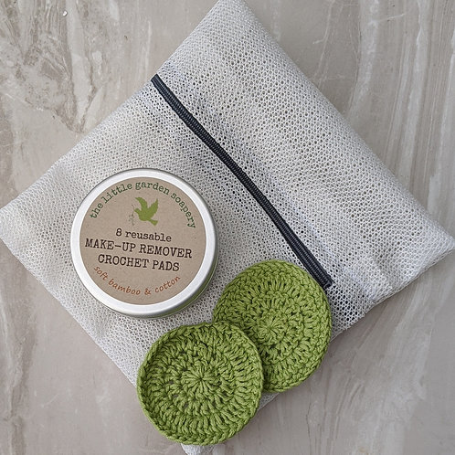 8 reusable crocheted bamboo and cotton make up removal pads and mini laundry bag