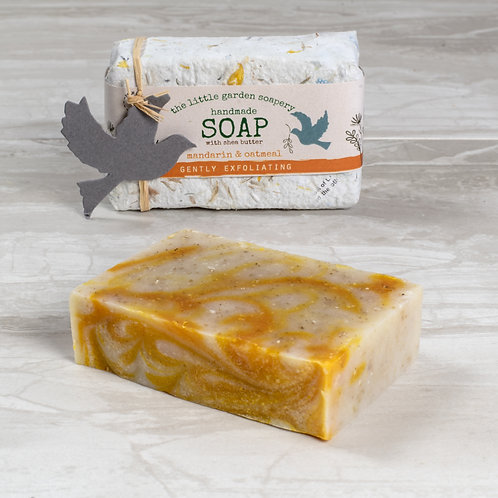 Mandarin & Oatmeal Handmade Soap. Made with Shea Butter.