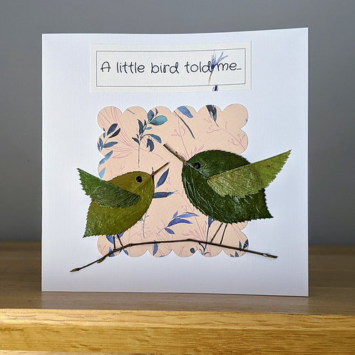 Bird inspired Real Pressed Leaves/Petals  Birthday Card  -Choice of designs