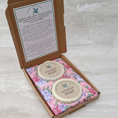 Soap Gift Box. Duo of Handmade Round Clay Soaps
