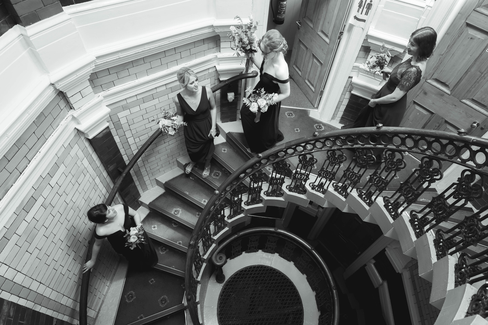 bridesmaids black and white photography