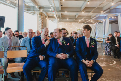 groom and best men in trafalgar warehouse, south yorkshire