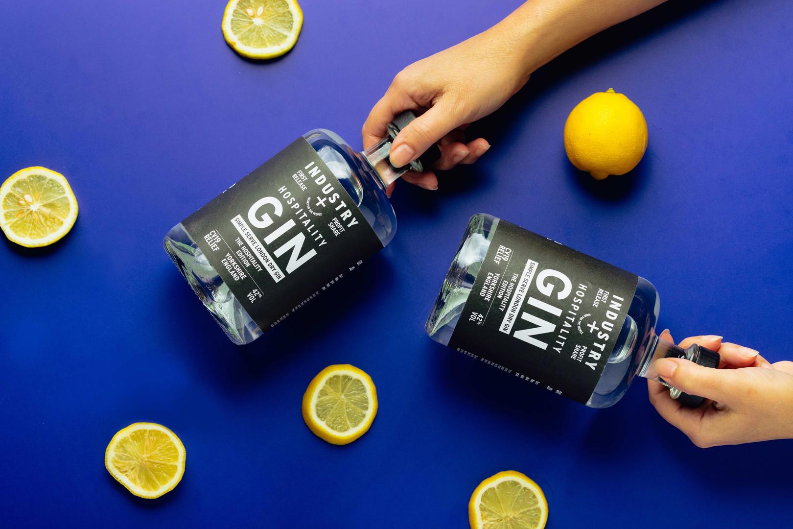 hospitality gin lemons and hands