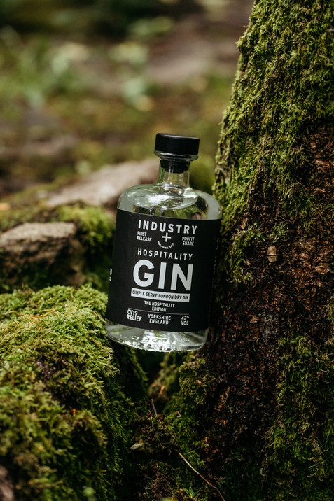 hospitality gin bottle in the woods