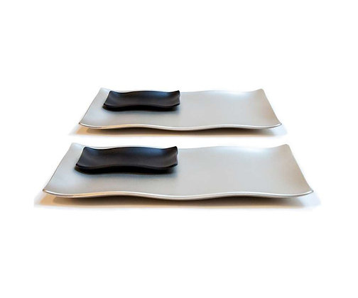 Sushi Set - Silver with Black