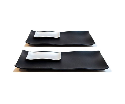Sushi Set - Black with Silver