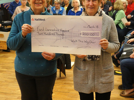 East Lancashire Hospice £200 Cheque