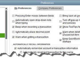 Establishing Preferences in QuickBooks