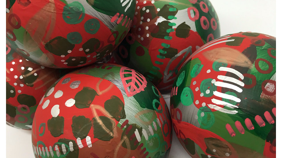 Red & Green Christmas Decorations- 5 Large