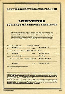 Lehrvertrag Karl Seiffert