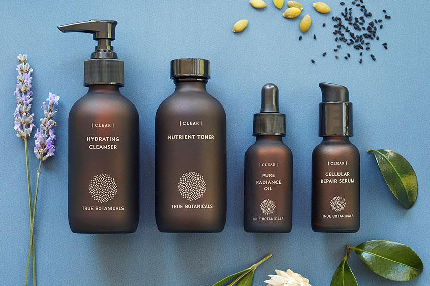 True Botanicals Clear Hydrating Cleanser, Nutrient Toner, Pure Radiance Oil, and Clear Serum