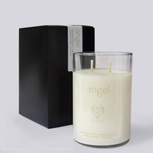 The Angel Candle: morning roses + green leaves