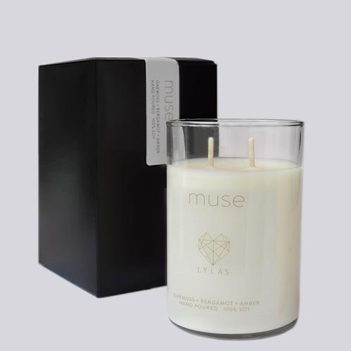 The Muse Candle: oak moss + bergamot + amber