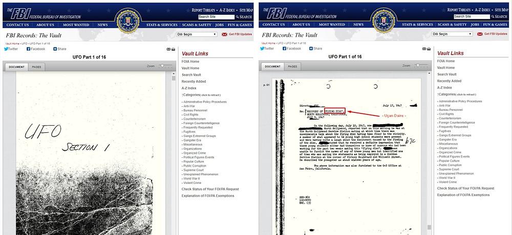 FBI sitesi UFO Dosyası