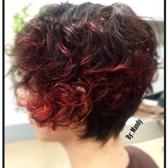 Short Wavy Cut & Red Highlights