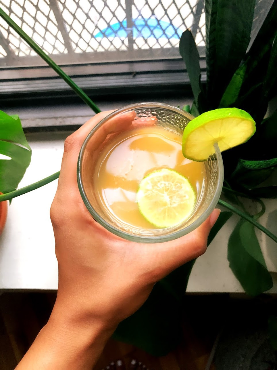 Enjoy an ice cold glass of sweet and spicy ginger beer, garnished with slices of lime.