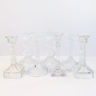 ANTIQUE TAPER CANDLE HOLDERS I GLASS
