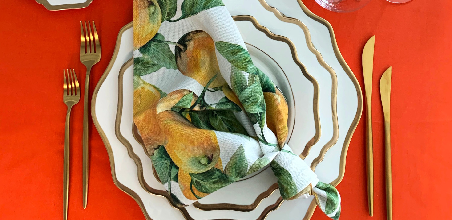 Hemstitched Napkins I Capri Lemon