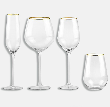 Rome I Gold Rim Glassware